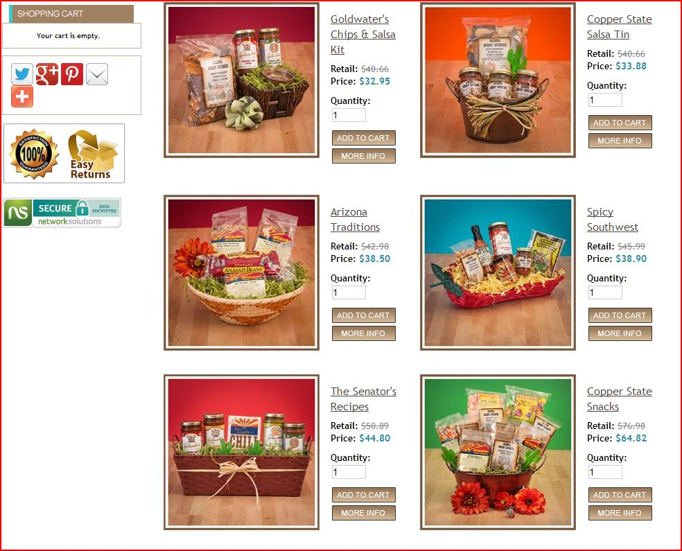 Arizona Gifts southwest gift baskets after updates